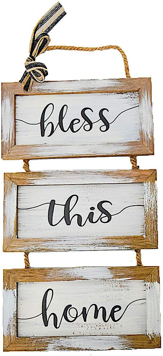 """S.T.C. Home Sign for Wall Front Door Indoor Outdoor Country Rustic Primitive Decor Art 20"""" x 9"""" (Bless This Home)"""