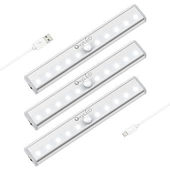 OxyLED Luz del sensor de movimiento,(10 LED 3pcs) Sensor USB recargable Luz