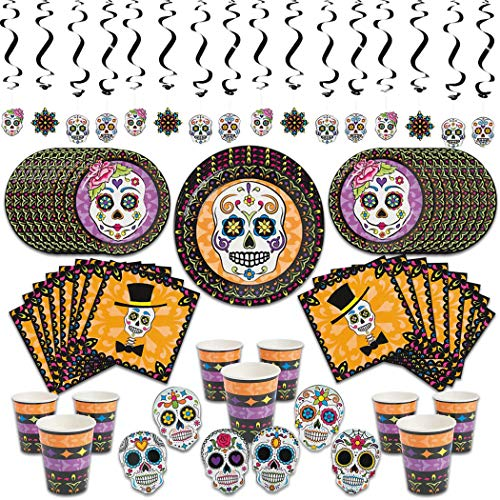 Dia De Los Muertos Day Of The Dead Sugar Skull Halloween Party Supplies Pack for 16 Guest (88 Pieces) with Plates, Napkins, Cups, Hanging Swirls & Cut Outs & Bonus Party Planner -