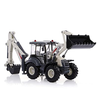 GoolRC Alloy Diecast Excavator, 1:50 Scale 4 Wheel Shovel Loader, Two-Way Forklift Bulldozer Backhoe Loader, Truck Model for Kids Toys Gift: Toys & Games