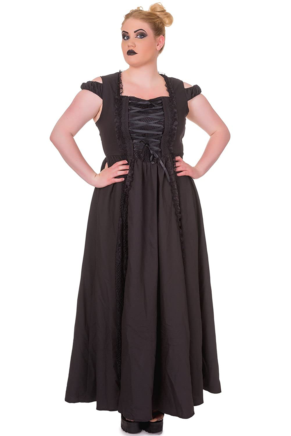 Steampunk Dresses | Women & Girl Costumes Plus Gothic Victorian Dark Side Raven Witch Black Long Corset Lace up Party Dress $85.95 AT vintagedancer.com