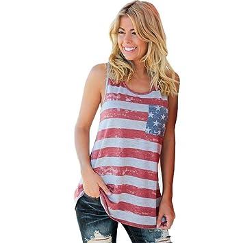 Top para mujer lmmvp mujeres bandera americana rayas printed Tops Casual blusa T Shirt