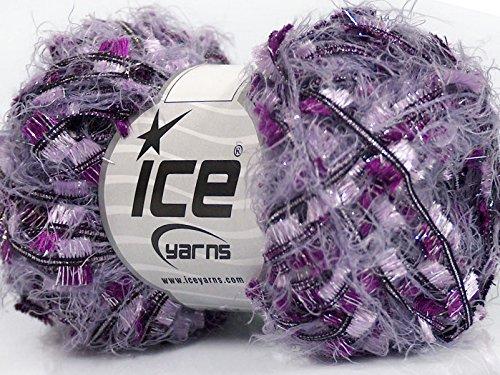 Crush - Purple Lilac Black Silver Sparkly Butterfly and Eyelash Yarn 50 Gram, 43 Yards (Eyelash Ribbon)