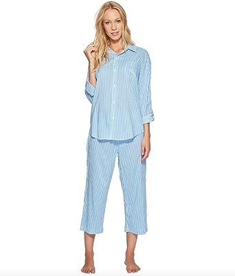 58916d18946 Lauren Ralph Lauren Women s Classic Woven Capri Pajama Set (SM (US 4 ...