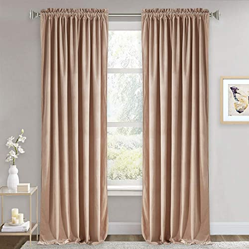 RYB HOME Velvet Curtains for Sliding Glass Door, Velvet Drapes with Dual Rod Pocket Backdrop Home Decoration Room Darkening Curtains for Dining Room Nursery, Brownish Pink, 52 x 108 in, 1 Pair