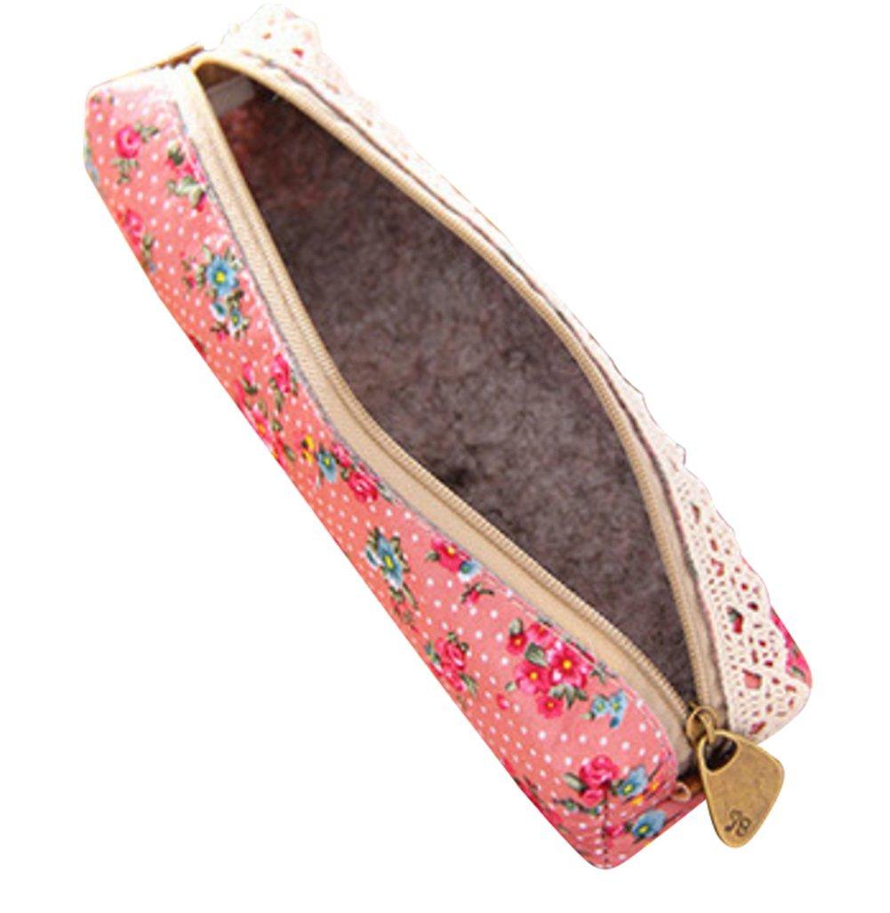 Cosanter matita della borsa Holder lovely panno fiore modello makeup bag Pencil Case per ragazze 20 X 5 X 4 CM Pink