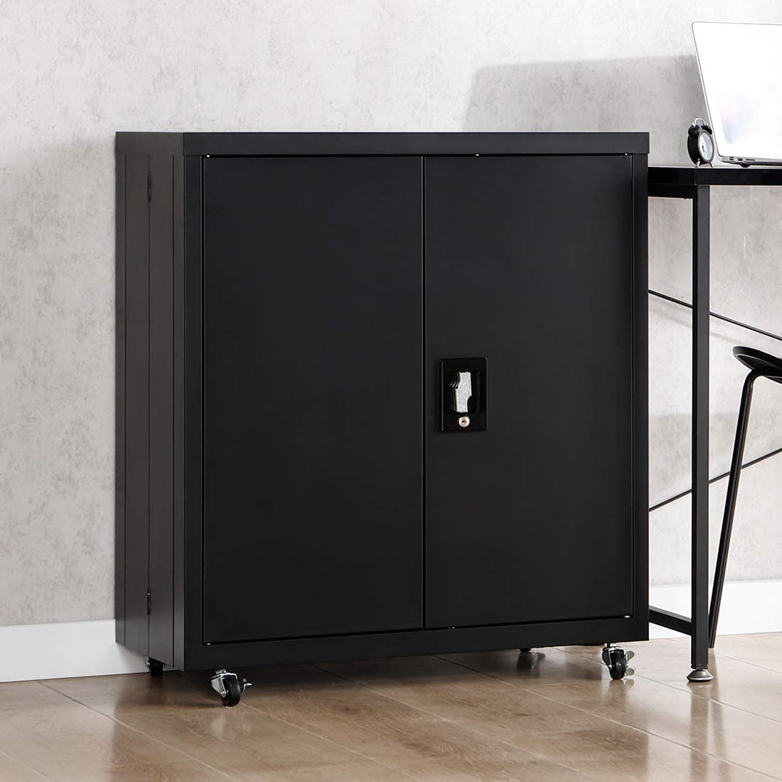 """GREATMEET Gauge 24 Metal Cabinet Locking Half Height Steel Counter Cabinet with 1 Adjustable Shelves and Wheels for Home Office, Black(27.56"""" L x 13.78"""" W x 31.5"""" H)"""