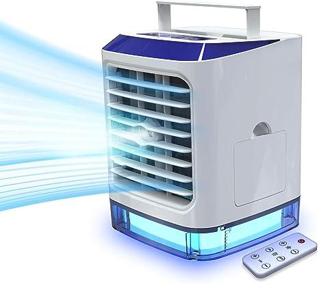LAZCOZY mini Ventilador Humidificador Purificador Aire Acondicionado portátil de [Vhool-EU] USB Air Cooler con 3 Velocidades y 7 Colores Luz: Amazon.es: Grandes electrodomésticos