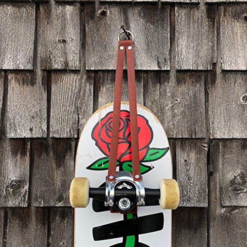 Leather skateboard wall hanger, mount, storage, hook display by Kurier