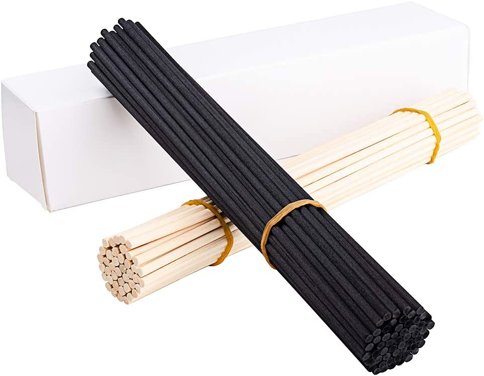 "EXQUISS 120 Pcs Reed Diffuser Replacement Sticks Set of 60 Pcs Wood Rattan Reed Sticks(Natural Color) + 60 Pcs Fiber Reed Diffuser Replacement Refill Sticks(Black Color)-10"" x 4mm(120, 10"" x 4 mm)"