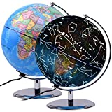 Qwork 9 inch Illuminated Word Globe with Constellations for Kids, 3-in-1 Educational Desktop Globe with Safe Steady Steel Stand, Highly Educational Gift