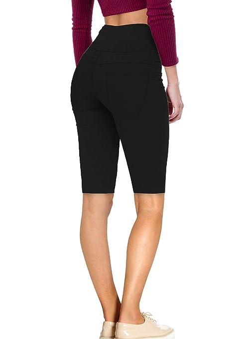 6ed5c1a6eab5a4 Women Butt Lift 3 Button High Wide Waist Stretch Denim Skinny Jeans Capri  Bermuda Short at Amazon Women's Jeans store