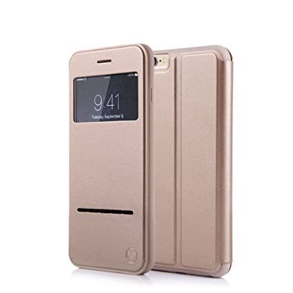 newest collection a9e91 76ad9 Nouske Smart Touch Case S-View Window Flip Cover/Magnetic Closure/Stand/TPU  bumper/360 Protection for iPhone 6/6S, Gold