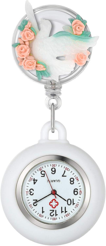 Lancardo Reloj Médico de Bolsillo con Decoración Floral Reloj Enfermera Elegante con Perlas y Diamantes de Inmitación Movimiento Cuarzo NO Impermeable Clip Broche Longitud Estirable