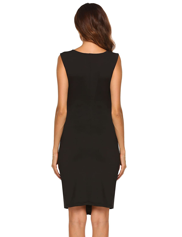 ACEVOG Damen Elegant Etuikleid Sommerkleid Eng Business Kleid V Ausschnitt /Ärmellos Patchwork Knielang Abendkleid