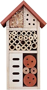 Lulu Home Wooden Insect House, Hanging Insect Hotel for Bee, Butterfly, Ladybirds, Beneficial Insect Habitat, Bug Hotel Garden, 10.4 X 3.4 X 5.4 Inch