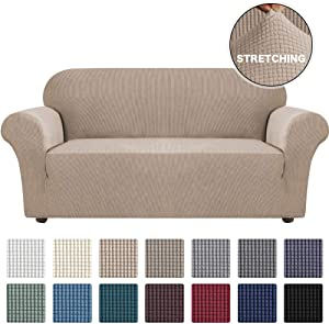 Turquoize Stretch Sofa Covers Couch Covers for 3 Cushion Couch Sofa Slipcovers for Living Room Furniture Covers for Sofa with Elastic Bottom, Checked Jacquard Thick Fabric Washable (Sofa, Khaki)