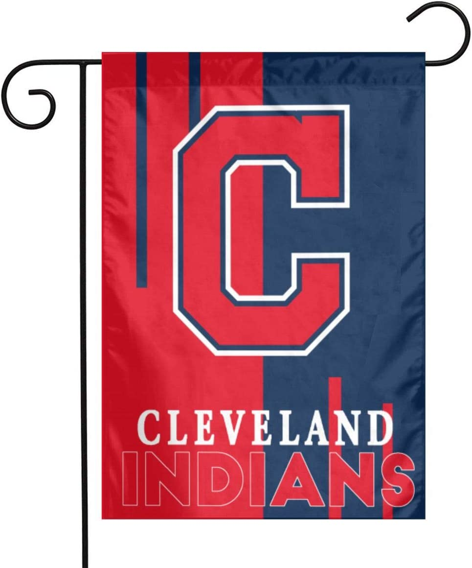 Xihe Fashion Baseball Team Double Sided Banner Linen Material House Yard Decoration Flags Home Garden Flags 12 x 18 Inch (Cleveland Indian )