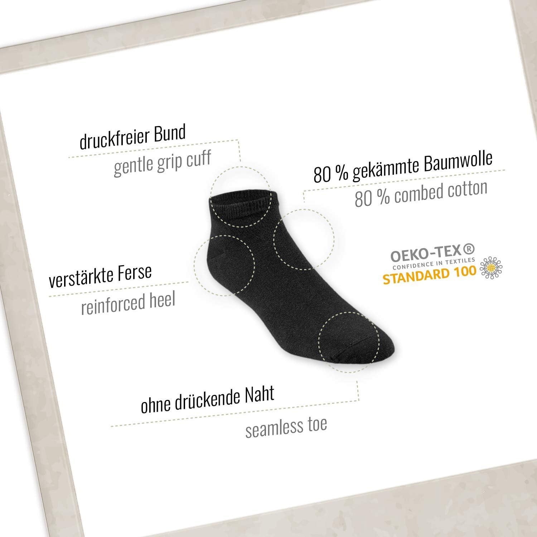 Negro blanco Material certificado no t/óxico Rob /& Daves Calcetines de deporte corte bajo Calcetines deporte sin costuras incomodas ni opresi/ón 5 pares Calcetines hombres y calcetines mujer