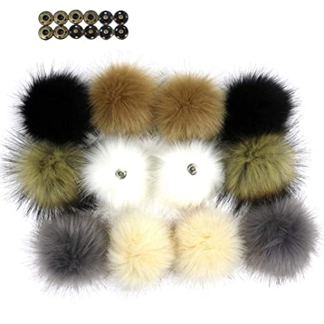 Dr Nezix TE 12pcs Faux Fox Fur Fluffy Pompon Ball con bottone a pressione  Snap 3de57821101a
