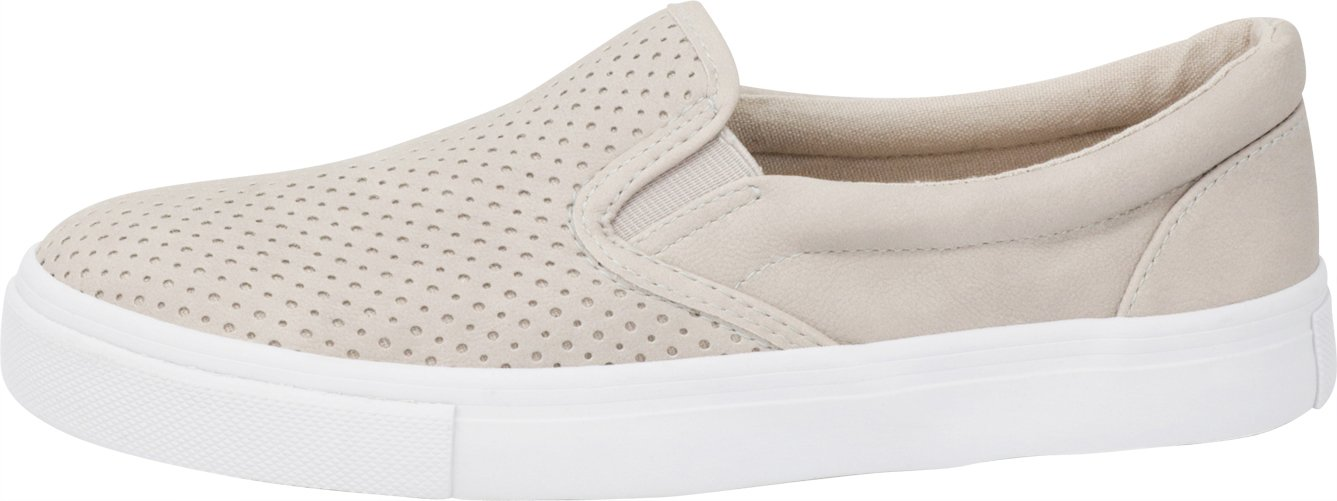 Cambridge Select Women's Slip-On Closed Round Toe Perforated Laser Cutout White Sole Flatform Fashion Sneaker B07F95FK2V 9 B(M) US|Clay Nbpu/White Sole