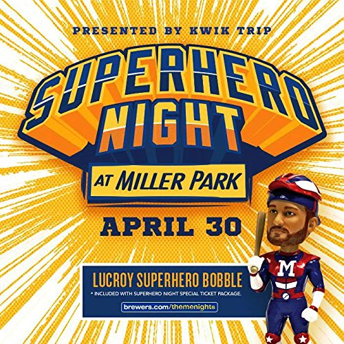 - Jonathan Lucroy Super Hero 2016 Sold Out Ticket Milwaukee Brewers Bobblehead