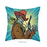 VROSELV Custom Cotton Linen Pillowcase Blue Decor Steampunk Western Style Robot Cowboy Makes OK Gesture Illustration for Bedroom Living Room Dorm Petrol Blue and Brown 28''x28''