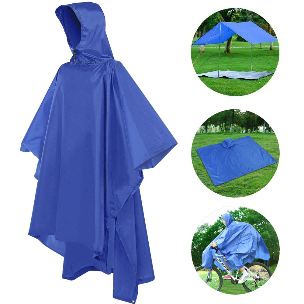 Kany Multi-Functional Rain Poncho,3 in 1 Waterproof Raincoat Ground Mat for Outdoor Activities Hiker Raincoat,Sunshade Tarp