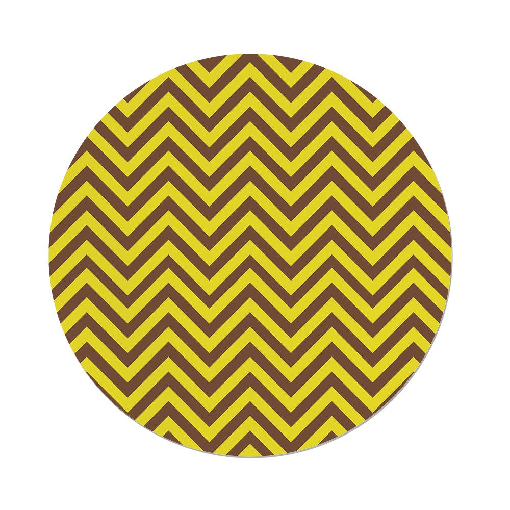 Polyester Round Tablecloth,Yellow Chevron,Vintage Graphic Country Design Classical Tile Old Fashioned Pattern Print Decorative,Brown Yellow,Dining Room Kitchen Picnic Table Cloth Cover,for Outdoor In