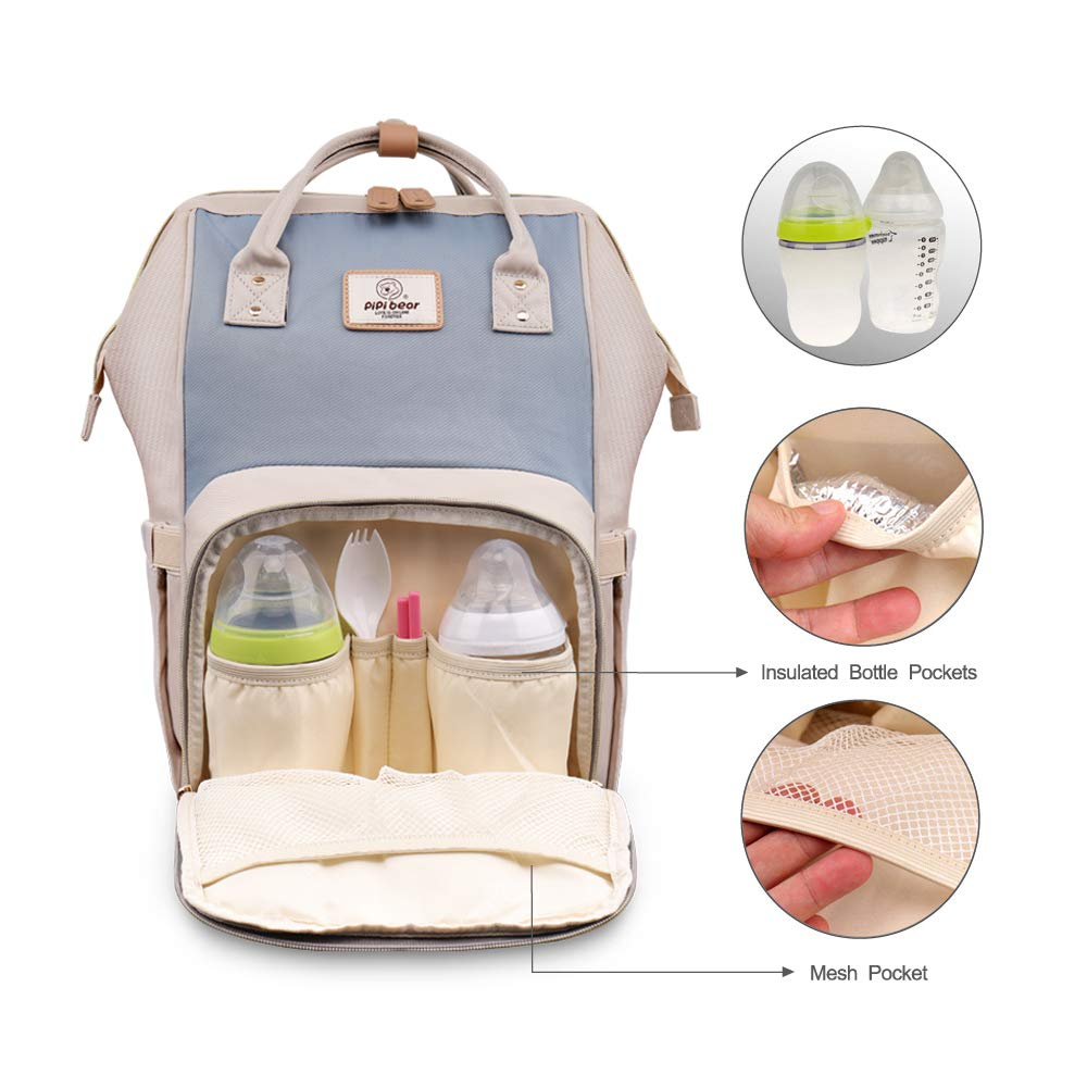 Large-Capacity Lightweight and Multi-Functional Nappy Backpack with Insulated Pockets New Fashion Travel Backpack for Mom and Dad Pipi bear Changing Backpack Bag Ivory/&Navy Blue
