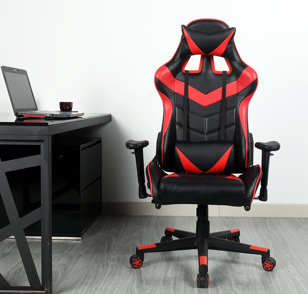 Zenith High Back PU Leather Swivel Gaming Chair with Adjustable Armrest Lumbar Support Headrest Racing Office Chair (Red)