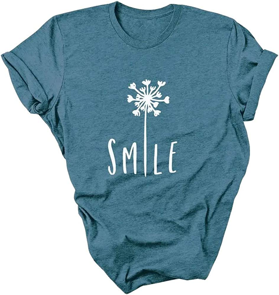 Earlymemb Women's Smile Dandelion T-Shirts Funny Cute Short Sleeve Retro Graphic Tees Tops