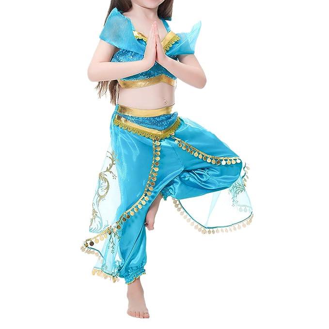 MSemis Disfraz Jasmine Princesa para Niñas Traje Bailarina ...