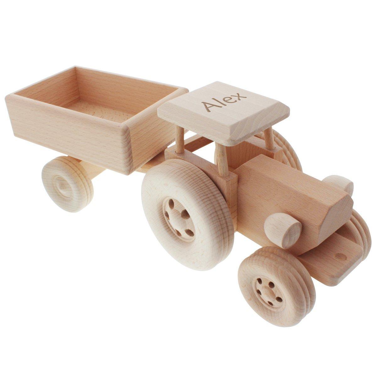 Hochwertiger Spielzeug-Traktor aus heimischem Holz mit Namens-Gravur - Das tolle Geschenk zum Kinder-Geburtstag