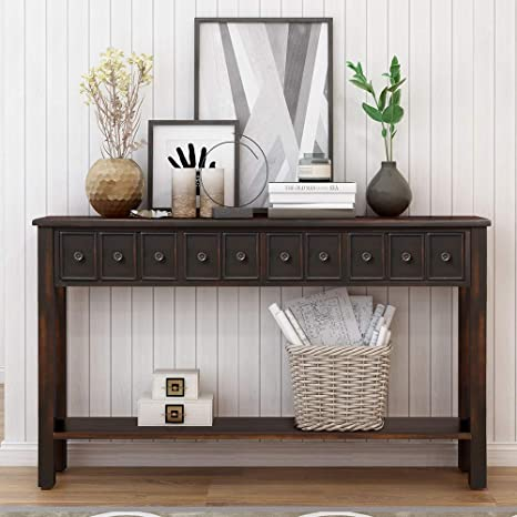 Amazon.com: Console Table for Entryway with Drawers, 60 Inch Wood