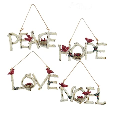 pack of 12 birch wood phrases with cardinals christmas ornaments 625 - Amazon Christmas Ornaments