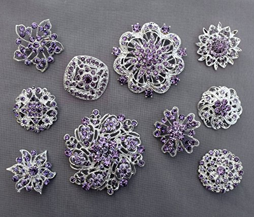 Amethyst Bouquet - 10 Light Amethyst Lavender Purple Assorted Crystal Brooch Rhinestone Brooch Set Crystal Wedding Brooch Bouquet DIY Kit US Seller BT997