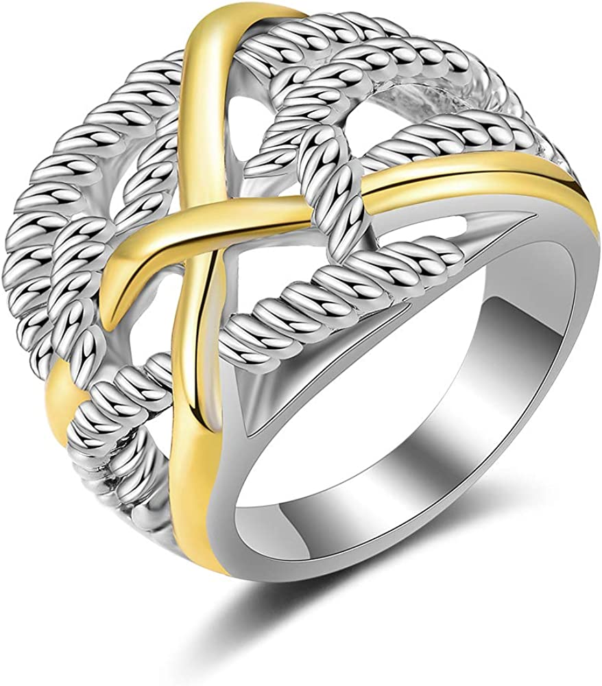 dnswez 2 Tone Intertwined Crossover Statement Ring Fashion Chunky Band Cable Wire Crossover Chunky Ring for Women