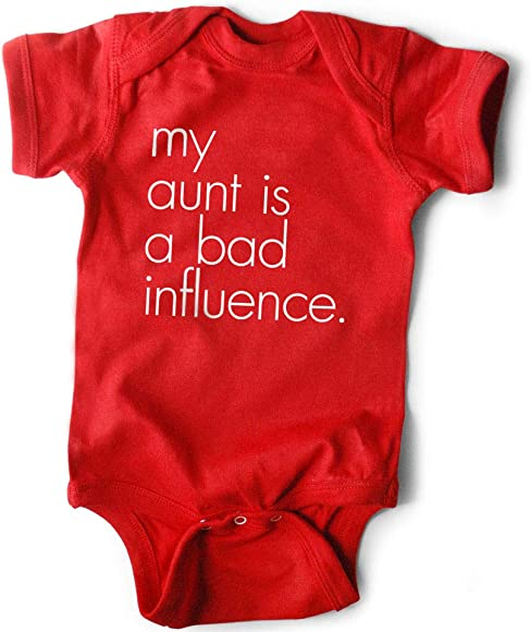 26b51f60622a Amazon.com: WRYBABY Funny Baby Bodysuit | My Aunt is a Bad Influence ...