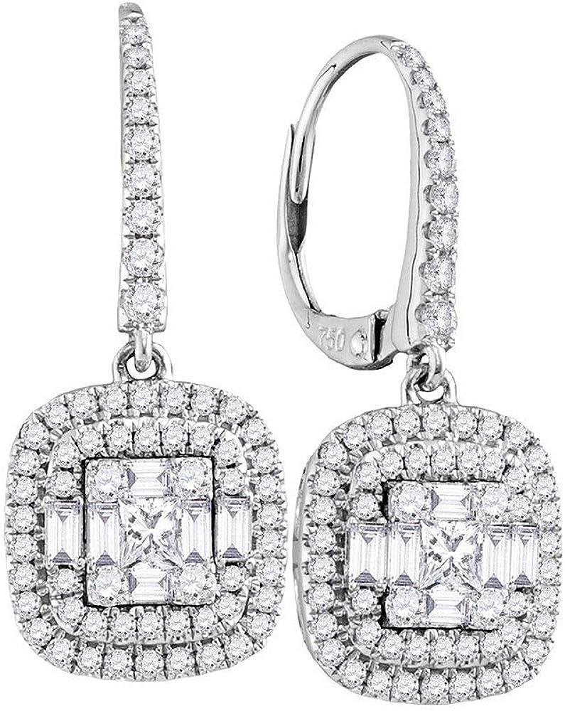 Diamond2Deal - Pendientes de oro blanco de 18 quilates para mujer con diamantes cuadrados