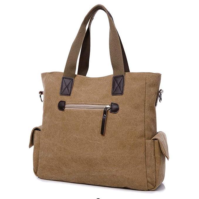 Amazon.com: QASEW Bolso de lona de Cuero para Hombre, de viaje, Casual, Gran capacidad, impermeable, Bolsa de equipaje para negocios (Color : D): Sports & ...
