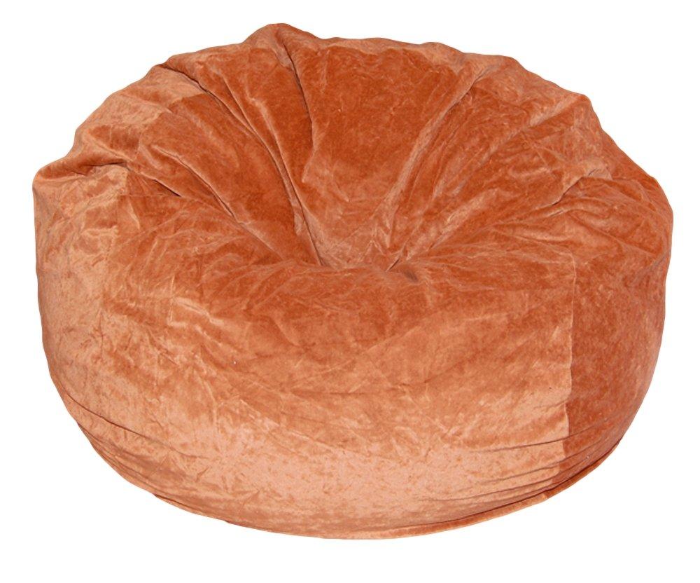 Ahh! Products Terracotta Orange Velvet Microsuede Washable Large Bean Bag Chair Plush