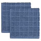 KitchenSmart Colors 2-Pack Solid Windowpane Dish Cloth in French Blue