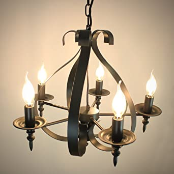 jdong klassischer kronleuchter 5×e14 kerzen antik design rustikal ... - Wohnzimmer Deckenlampen Rustikal