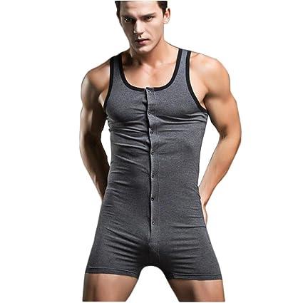 Ropa interior para hombres Mono Chaleco de algodón Pijama sexy Sculpting Home Chándal , grey ,