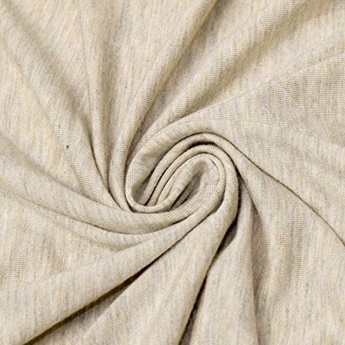 Light Oatmeal Medium Weight Rayon Spandex Jersey Knit Fabric 180 GSM (Medium Weight Upholstery Fabric)