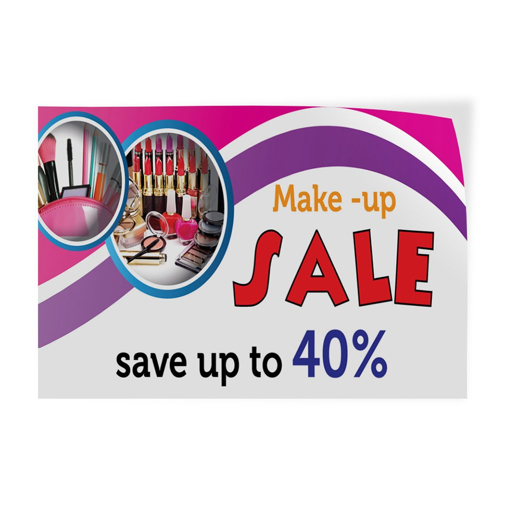 54inx36in Set of 2 Decal Sticker Multiple Sizes Make-Up Sale Save Up to 40/% Business Make Up Outdoor Store Sign White