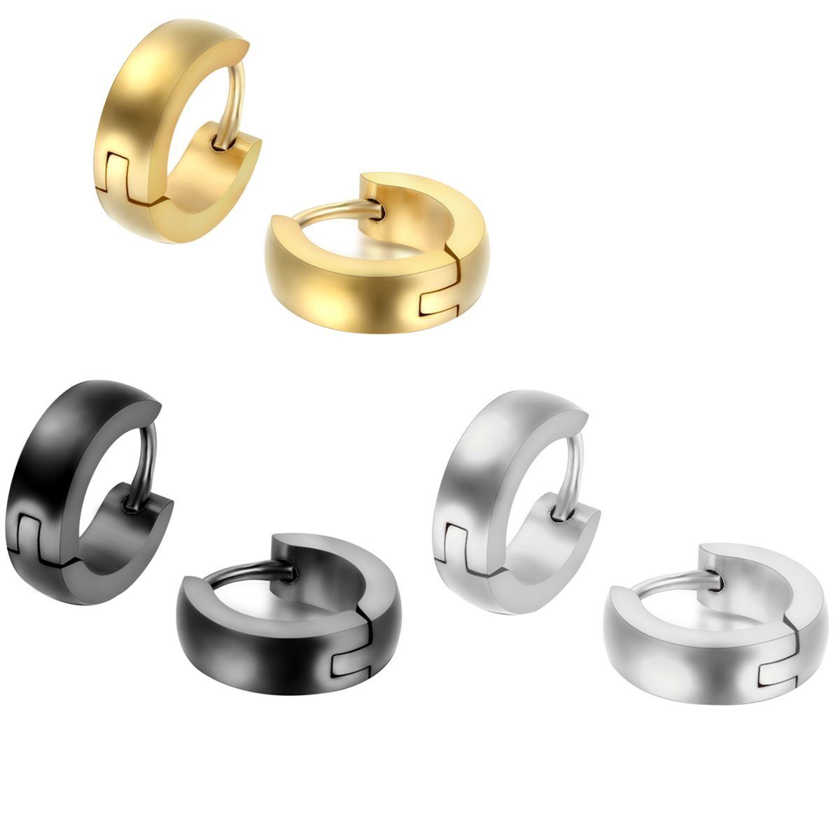 JewelryWe 2PCS Men Women Stainless Steel Classic Plain Cambered Stud Huggie Hoop Earrings Set(Colors Available) Christmas Decorations Ornaments Gifts JW32PCA1047