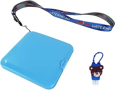 Kit Higiénico Estuche para Mascarillas, Estuche Mini Botella de Viaje Desinfectacte de Silicona de Colores Motivo y Color Aleatorio, Cordón para Guindar en el Cuello (Azul): Amazon.es: Hogar