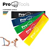 ProTools Resistance Bands | Set Of 5 Loop Bands Made Of Natural Latex, Perfect For Fitness, Gym And Physical Therapy | FREE EXERCISES + WORKOUTS | Rubber Bands For An Effective Full-Body Workout